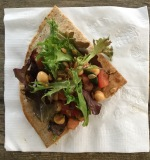 spring mix & chickpeas with toasted sunflower seeds flatbread